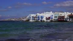 Day view of Little Venice (Aleykantra), Mykonos, Cyclades, Greek Islands, Greece, Europe