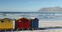 Colourful beach huts on Muizenberg beach, Cape Peninsula, Cape Town, Western Cape, South Africa, Africa