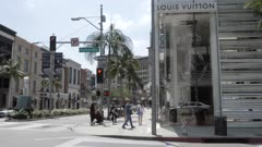 View of Rodeo Drive from Wilshire Avenue, Beverly Hills, Los Angeles, California, United States of America, North America