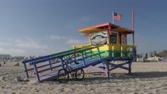 Lifeguard watchtower on Venice Beach, Santa Monica, Los Angeles, California, United States of America, North America