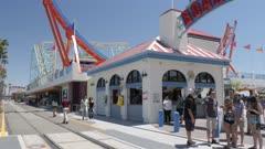 View along Beach Street to Boardwalk funfair on summer'?s day, Santa Cruz, California, United States of America, North America