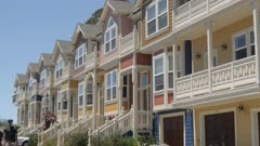 View of colourful houses on summer'?s day, Santa Cruz, California, United States of America, North America