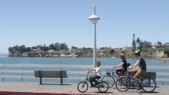 People and cars on Municipal Wharf and beach, Santa Cruz, California, United States of America, North America