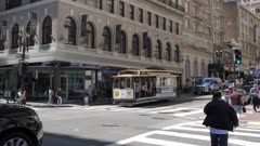 Two Powell Street Cable Cars crossing in Union Square, San Francisco, California, United States of America, North America