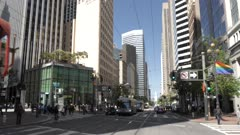Buildings on Market Street on summer day, Union Square, San Francisco, California, United States of America, North America