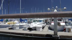 Crane shot of Yahcts in Fishermans Wharf, Monterey Bay, Peninsula, Monterey, Pacific Ocean, California, United States of America, North America