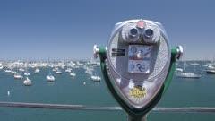 Crane shot of Yachts in Fishermans Wharf, Monterey Bay, Peninsula, Monterey, Pacific Ocean, California, United States of America, North America
