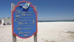 Crane shot of Old Fishermans Wharf sign, Monterey Bay, Peninsula, Monterey, Pacific Ocean, California, United States of America, North America