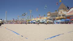 Crane shot of Santa Cruz Broadwalk fun fair and beach, Santa Cruz, California, United States of America, North America