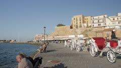 Hassan Pasha Mosque and Venetian Harbour, Chania, Crete, Greek Islands, Greece, Europe