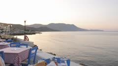 Traditional Cretan Dorado fish with Greek salad, Kissamos, Crete, Greek Islands, Greece, Europe
