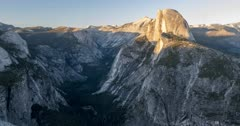 Time lapse from Glacier Point of Half Dome and Yosemite Valley, Yosemite National Park, California, USA, North America