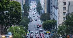 Time lapse of traffic on Grand Avenue, Downtown Financial District, Los Angeles, California, USA, North America