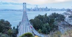 Time lapse of traffic on Oakland Bay Bridge from Yerba Buena Island at dusk, San Francisco, California, USA, North America