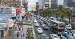 Time lapse of traffic and pedestrians on Las Vegas Boulevard, Las Vegas, Nevada, USA, North America