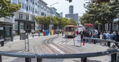 Time lapse of tram and people at turntable on Hyde Street, San Francisco, California, USA, North America