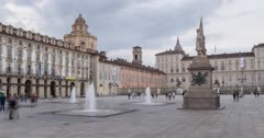Time lapse of Piazza Castello surrounded by Palazzo Madama and Palazzo Reale at dusk, Turin, Piedmont, Italy, Europe