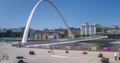 Time Lapse of Gateshead Millennium Bridge, Newcastle-upon-Tyne, Tyne and Wear, England, United Kingdom, Europe