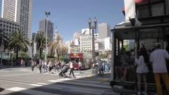Pedestrians crossing Powell Street, Union Square, Union Square, San Francisco, California, United States of America, North America