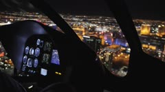 Areal view and The Maveric helicopter dashboard at night, Las Vegas Boulevard, Las Vegas, Nevada, USA, North America