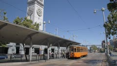 Ferry Building Market Hall and Yellow Tram, San Francisco, California, United States of America, North America