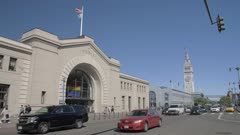 Pier 1 and Ferry Building Market Hall and busy traffic on The Embarcadero, San Francisco, California, United States of America, North America