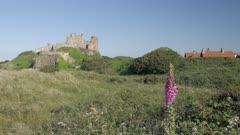 Bamburgh Castle from beach, Northumberland, England, United Kingdom, Europe