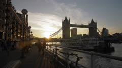Panning shot of Sunset at Tower Bridge from Butlers Wharf, Southwark, London, England, United Kingdom, Europe