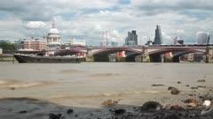 Time-Lapse of River Thamesand Cruiseboat, Southwark, London, England, United Kingdom, Europe