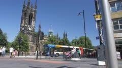 Crane shot of St Thomas Church, Newcastle-upon-Tyne, Tyne and Wear, Tyneside, England, Europe