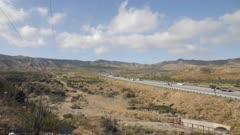 View of traffic on Highway 15 near San Bernardino, Los Angeles, California, United States of America, North America