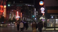 Video of people partying and busy traffic at night, Granville Street, Vancouver, British Columbia, Canada, North America