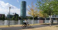 Westhafen Tower on River Main, Frankfurt, Hesse, Germany