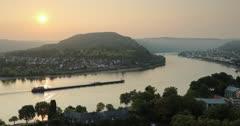 View of Boppard and River Rhine at sunrise, Oberwesel, Rhineland-Palatinate, Germany