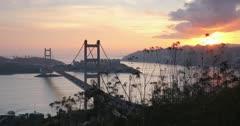 View of Tsing Ma Bridge at sunset, Tsing Yi, Hong Kong