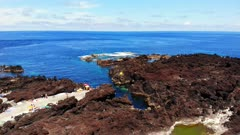 Aerial view of volcanic tide pools on Terceira Island, Azores Islands, Portugal, Europe