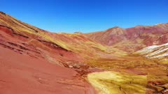 Drone shot, herds of llama, The Ausangate Trek, Vinicunca Mountain/Rainbow Mountains, Sacred Valley Peru,