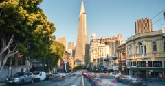 Time lapse of Transamerica Pyramid and Columbus Avenue in San Francisco, California, USA, North America