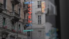 Neon signs on Via XX Settembre in Turin, Italy, Europe