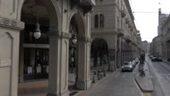 Neoclassical buildings on street in Turin, Italy, Europe