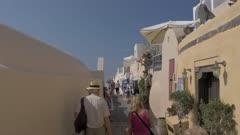 Stalls on footpath in Oia, Santorini, Greece, Europe