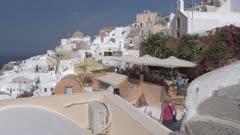 Restaurant in village of Oia, Santorini, Greece, Europe