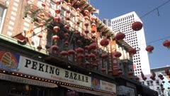 Chinese lanterns above restaurant in Chinatown, San Francisco, USA, North America