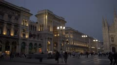 Galleria Vittorio Emanuele II and Duomo di Milano at sunset in Milan, Italy, Europe
