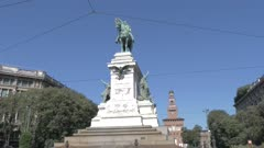 Statue of Giuseppe Garibaldi by Sforza Castle in Milan, Italy, Europe