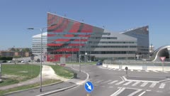 Roundabout by modern office building in CityLife district of Milan, Italy, Europe