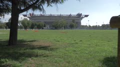 Field by San Siro stadium in Milan, Italy, Europe