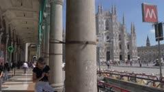 Metro entrance by Duomo di Milano in Milan, Italy, Europe