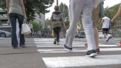 Pedestrians crossing Corso Vittorio Emanuele II in Turin, Italy, Europe