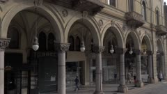 Colonnades on street in Turin, Italy, Europe